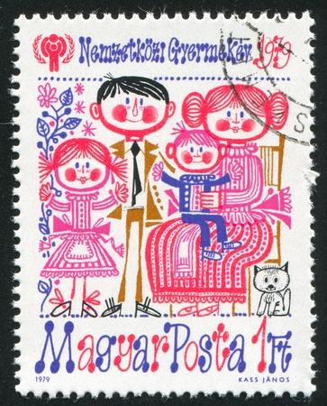 HUNGARY - CIRCA 1979: stamp printed by Hungary, shows Family, circa 1979 photo