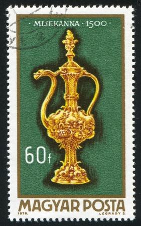 burette: HUNGARY - CIRCA 1970: stamp printed by Hungary, shows Altar Burette of 1500, circa 1970