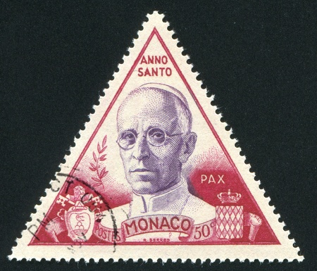 pius: MONACO - CIRCA 1951: stamp printed by Monaco, shows Pope Pius XII, circa 1951