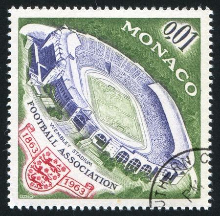 wembley: MONACO - CIRCA 1963: stamp printed by Monaco, shows Wembley Stadium, circa 1963 Editorial
