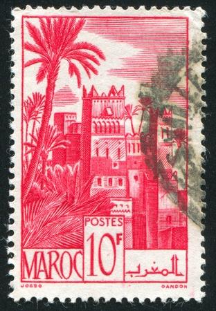 castle district: MOROCCO - CIRCA 1947: stamp printed by Morocco, shows Ouarzazat District, circa 1947