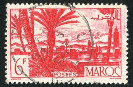 MOROCCO - CIRCA 1948: stamp printed by Morocco, shows Marrakesh, circa 1948 photo