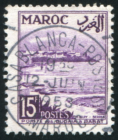 MOROCCO - CIRCA 1952: stamp printed by Morocco, shows Oudayas Point, Rabat, circa 1952 Stock Photo - 12118882