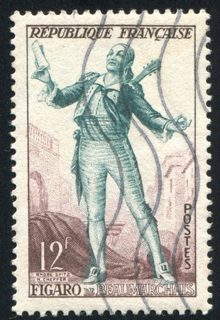 FRANCE - CIRCA 1953: stamp printed by France, shows Figaro, from the Barber Seville, circa 1953