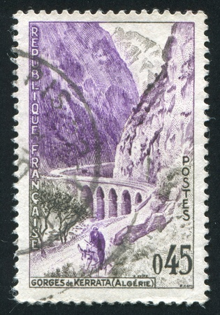 FRANCE - CIRCA 1960: stamp printed by France, shows Kerrata Gorge, circa 1960 Stock Photo - 12384270