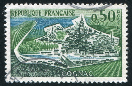 FRANCE - CIRCA 1961: stamp printed by France, shows view of Cognac, circa 1961 Stock Photo - 12384273