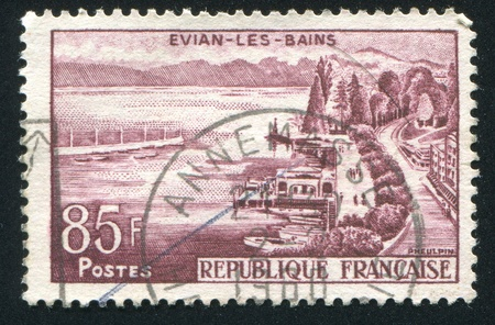 FRANCE - CIRCA 1957: stamp printed by France, shows Evian les Bains, circa 1957 Stock Photo - 12384250