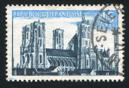 window seal: FRANCE - CIRCA 1960: stamp printed by France, shows Laon cathedral, circa 1960 Stock Photo