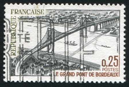 FRANCE - CIRCA 1967: stamp printed by France, shows Great bridge, Bordeaux, circa 1967 Stock Photo - 12384336