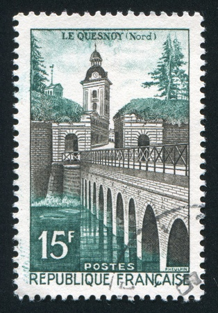 FRANCE - CIRCA 1957: stamp printed by France, shows Le Quesnoy, circa 1957 Stock Photo - 12384263