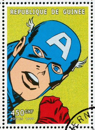 GUINEA - CIRCA 1999: stamp printed by Guinea, shows Captain America, circa 1999 Stock Photo - 12384306