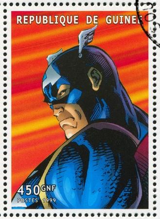 GUINEA - CIRCA 1999: stamp printed by Guinea, shows Captain America, circa 1999