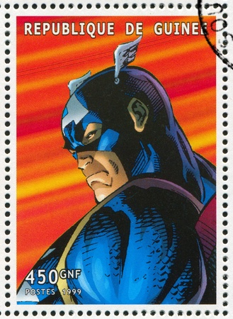 GUINEA - CIRCA 1999: stamp printed by Guinea, shows Captain America, circa 1999 Stock Photo - 12384328