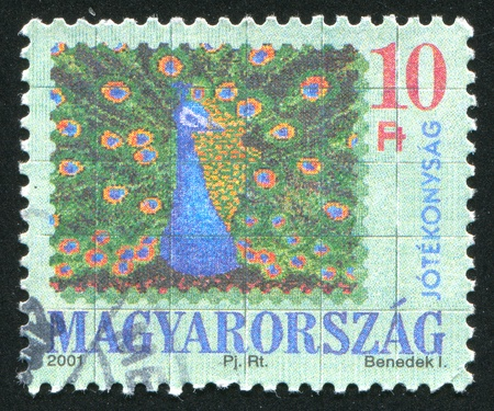 HUNGARY - CIRCA 2001: stamp printed by Hungary, shows Peacock, circa 2001 photo