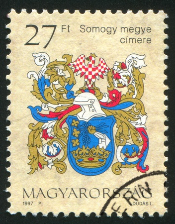 HUNGARY - CIRCA 1997: stamp printed by Hungary, shows Coat of Arms of Somogy, circa 1997 photo