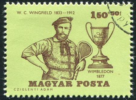 c a w: HUNGARY - CIRCA 1964: stamp printed by Hungary, shows W. C. Wingfield, Wimbledon Champion 1877, and Wimbledon Cup, circa 1964