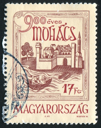 HUNGARY - CIRCA 1993: stamp printed by Hungary, shows City of Mohacs, circa 1993 photo