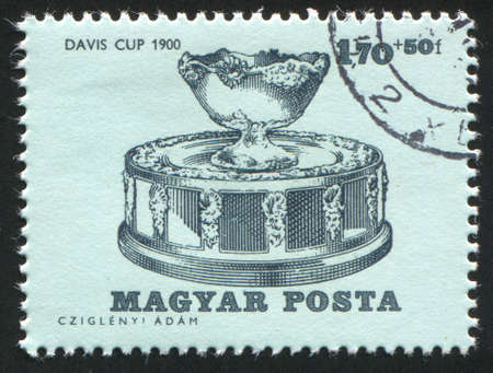 federation: HUNGARY - CIRCA 1964: stamp printed by Hungary, shows Davis Cup of 1900, circa 1964 Stock Photo