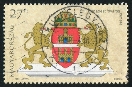 HUNGARY - CIRCA 1997: stamp printed by Hungary, shows Coat of Arms of Budapest, circa 1997 photo