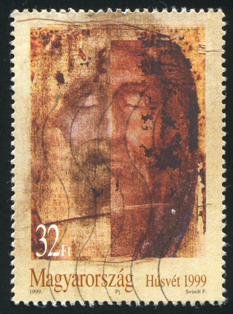 jesus paintings: HUNGARY - CIRCA 1999: stamp printed by Hungary, shows Face of Jesus Christ with Closed Eyes, circa 1999