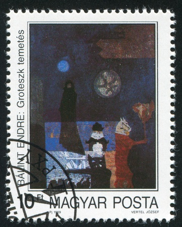 HUNGARY - CIRCA 1989: stamp printed by Hungary, shows Painting by Endre Balint 'Grotesque Burial', circa 1989 photo