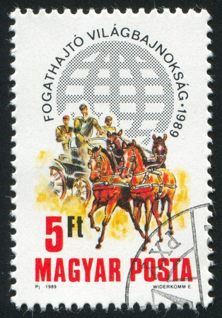 third world: HUNGARY - CIRCA 1989: stamp printed by Hungary, shows Third World Two-in-Hand Carriage-driving Championship , circa 1989