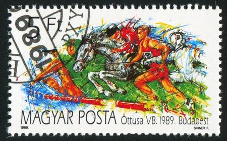 pentathlon: HUNGARY - CIRCA 1989: stamp printed by Hungary, shows Modern Pentathlon World Championship , circa 1989
