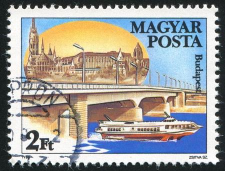 HUNGARY - CIRCA 1985: stamp printed by Hungary, shows Arpad Bridge in Budapest, circa 1985 Stock Photo - 12384345