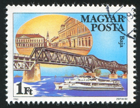 HUNGARY - CIRCA 1985: stamp printed by Hungary, shows Danube Bridge in Baja, circa 1985 Stock Photo - 12384354