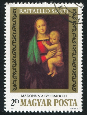 HUNGARY - CIRCA 1983: stamp printed by Hungary, shows Painting by Raphael Madonna and Child with St. John, circa 1983