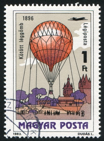 HUNGARY - CIRCA 1983: stamp printed by Hungary, shows Hot Air Balloon, circa 1983 photo