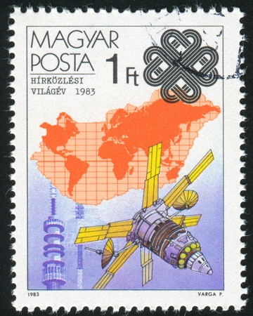 HUNGARY - CIRCA 1983: stamp printed by Hungary, shows Earth Satellite and Map, circa 1983 Stock Photo - 12384152
