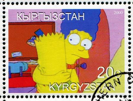 simpson: KYRGYZSTAN - CIRCA 2000: stamp printed by Kyrgyzstan, shows  Marjorie Simpson, circa 2000.