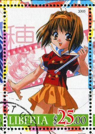 animation teenagers: LIBERIA - CIRCA 2005: stamp printed by Liberia, shows Anime Sister Princess, circa 2005