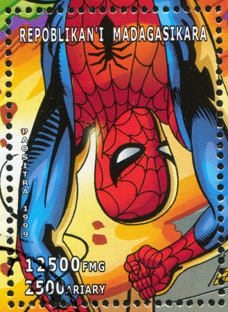 MADAGASCAR - CIRCA 1999: stamp printed by Madagascar, shows Spider-man, circa 1999 Stock Photo - 13140844