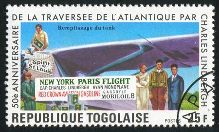TOGO - CIRCA 1977: stamp printed by Togo, shows Lindbergh, Ground Crew, circa 1977 Stock Photo - 12384322