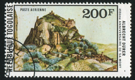 durer: TOGO - CIRCA 1978: timbro stampato dalla Togo, mostra Veduta di Arco, da Durer, circa 1978
