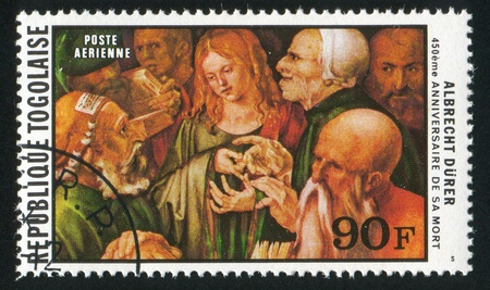TOGO - CIRCA 1978: stamp printed by Togo, shows Jesus among the Doctors, by Albrecht Durer, circa 1978 Stock Photo - 12384316