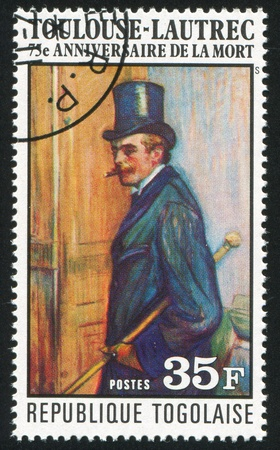 TOGO - CIRCA 1976: stamp printed by Togo, shows Louis Pascal, portrait, by Toulouse-Lautrec, circa 1976