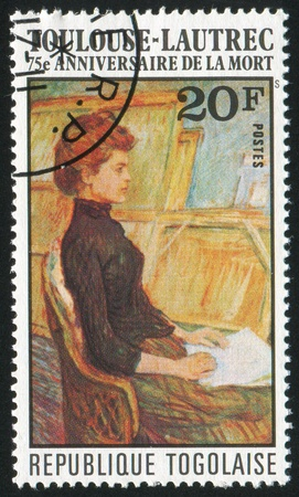TOGO - CIRCA 1976: stamp printed by Togo, shows Model in Studio, by Toulouse-Lautrec, circa 1976