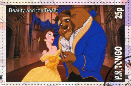 TONGO - CIRCA 2011: stamp printed by Tongo, shows Walt Disney cartoon character, Beauty and Beast, circa 2011 Editorial