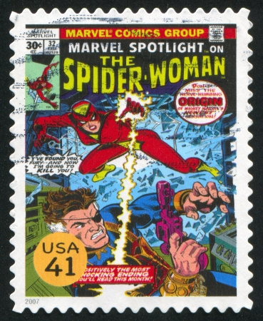 UNITED STATES - CIRCA 2007: stamp printed by United states, shows Spider-Woman, circa 2007 Stock Photo - 12384353