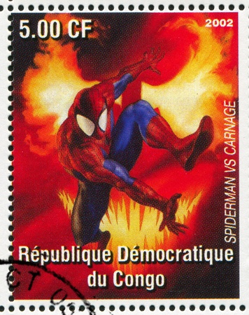 CONGO - CIRCA 2002: stamp printed by Congo, shows Spider-man, circa 2002