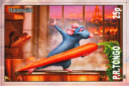 TONGO - CIRCA 2011: stamp printed by Tongo, shows cartoon character, Ratatouille, circa 2011