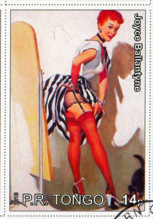 TONGO - CIRCA 2010: stamp printed by Tongo, shows Pin-up girl, by Joyce Ballantyne, circa 2010