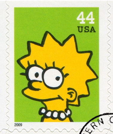 simpson: UNITED STATES CIRCA 2009: stamp printed by United States, shows Lisa Marie Simpson, circa 2009