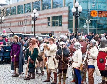 KALININGRAD - JANUARY 8: historical reconstruction knightly battle, Battle of Lake Peipus, January 8, 2012 in Kaliningrad, Russia Stock Photo - 12339818