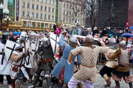 KALININGRAD - JANUARY 8: historical reconstruction knightly battle, Battle of Lake Peipus, January 8, 2012 in Kaliningrad, Russia Stock Photo - 12339833