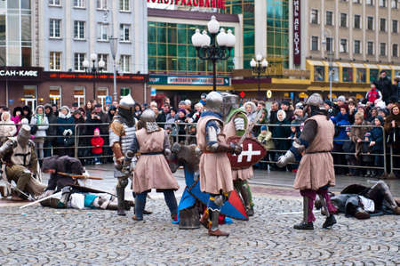 KALININGRAD - JANUARY 8: historical reconstruction knightly battle, Battle of Lake Peipus, January 8, 2012 in Kaliningrad, Russia Stock Photo - 12339982