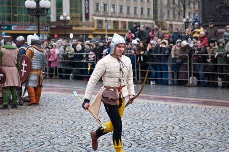 arbalest: KALININGRAD - JANUARY 8: historical reconstruction knightly battle, Battle of Lake Peipus, January 8, 2012 in Kaliningrad, Russia